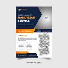 Handyman A4 Flyer Template Design And Brochure Or Report Leaflet Cover Geometric Design Construction Business And Premium Vector Set