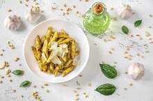 Portion Of Penne Pasta With Pesto Sauce