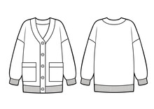 Knitted Classic Cardigan With Pockets And Buttons On Front, Fashion Flat Sketch Template