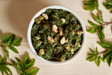 Pesto Made From Young Goutweed Leaves - A Wild Edible Plant
