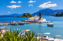Corfu, Greece. Vista Of Picturesque Vlacherna Monastery.