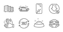 Loan Percent, Full Rotation And Smartphone Broken Line Icons Set. Dog Feeding, Buildings And Car Signs. Clapping Hands, Women Group Symbols. Decrease Rate, 360 Degree, Phone Crash. Vector
