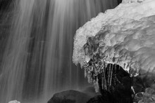 Ice Covered Boulder At The  Base Of Dark Hollow Falls - Black & White
