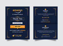 Modern Creative Luxurious Amazon Thank You Card Print Ready With A Yellow Golden Color Premium Vector Ads
