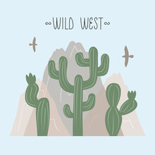 Vector Illustration With Landscape Of Wild West, Where Cactus, Mountain, Eagle And Lettering