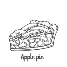 Apple Pie Slice Outline Vector Icon. Drawn American Homemade Traditional Dessert.