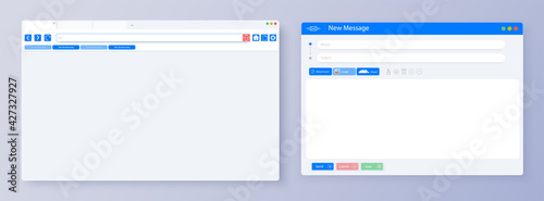 Obraz Blank UI, UX minimal browser window for computer. Mockup for responsive web design. Email message window. Mail app interface. Vector illustration - fototapety do salonu