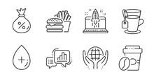 Loan, Burger And Tea Line Icons Set. Organic Tested, Graph Chart And Start Business Signs. Takeaway Coffee, Oil Serum Symbols. Money Bag, Cheeseburger, Glass Mug. Business Set. Vector