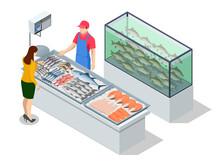 Isometric Fresh Fish And Seafood Sale Market. Fresh Fish In The Fresh Market Or Supermarket Cooled Fish Fresh. Sea Bass And Bream Fresh Fish
