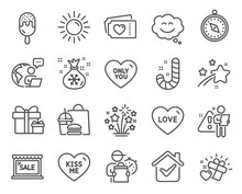 Holidays Icons Set. Included Icon As Love, Sale, Love Tickets Signs. Fireworks Stars, Only You, Santa Sack Symbols. Sun, Ice Cream, Smile Chat. Candy, Kiss Me, Travel Compass Line Icons. Vector
