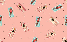 Summertime Beach Vector Illustration In Flat Design Seamless Pattern With Tan Girls In Swimsuits On Pink Background With Black Polka Dot