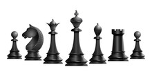 Set Of Black Chess Pieces. Chess Piece Icons. Board Game. Vector Illustration Isolated On White Background