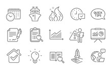 Calendar Time, Graph And Crowdfunding Line Icons Set. Select Alarm, Ship And Fire Energy Signs. Search Analysis, Presentation And Light Bulb Symbols. Line Icons Set. Vector