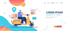 Courier On Scooter Delivering Food Or Parcels Express Delivery Service Concept Full Length Horizontal