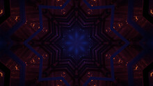 3D Rendering Of Cool Futuristic Kaleidoscopic Patterns Background In Vibrant Blue And Brown Colors