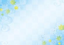 流水紋と青紅葉と銀箔の夏の水色和柄背景