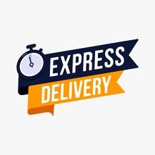 Express Delivery Label Sign For Banner Promotion Vector Illustration