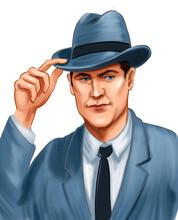 Cool Vintage Man In Suit And Hat. Digital Illustration