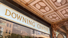 Signage Outside The Downing Centre. State Government Courts, Including Local Court, District Court, And A Law Library. Department Of Justice And Sheriffs Offices