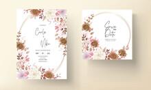 Boho Wedding Invitation Card Brown Floral