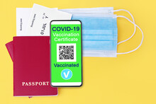 COVID 19 Vaccination Certificate Digital Coronavirus Immunity Health Passport, Smartphone, Flight Boarding Pass, Protective Medical Face Mask, Vaccinated People Travel Summer Holidays Vacation Tourism