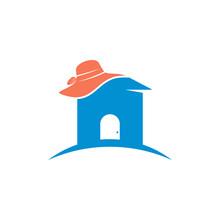 House Hat Logo Design Vector Illustration, Creative Hat Logo Design Concept Template, Symbols Icons