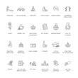 Mental health, wellness, psychological hygiene thin line style vector icon set