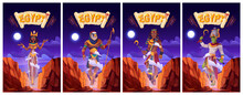 Cartoon Posters With Egyptian Gods Amun Ra, Horus, Pharaoh And Queen Cleopatra. Ancient Egypt Deities In Royal Clothes Holding Divine Power Staffs Floating In Air Above Rocks, Vector Illustration