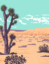 WPA Poster Art Of The Joshua Tree In Tule Springs Fossil Beds National Monument Near Las Vegas, Clark County, Nevada Done In Works Project Administration Style Or Federal Art Project Style.