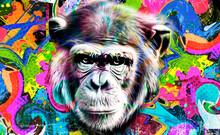 Portrait Of A Chimpanzee Color Art