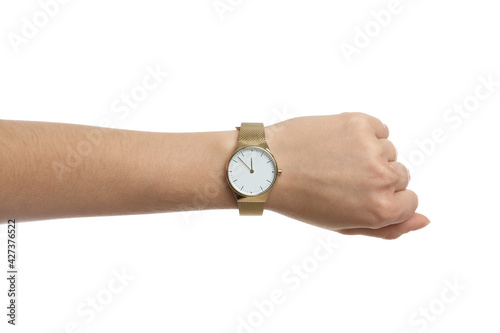 Canvas-taulu Woman wearing luxury wristwatch on white background, closeup
