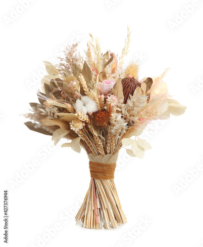 Canvas Print Beautiful dried flower bouquet isolated on white