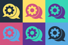 Pop Art Speech Bubble Chat Icon Isolated On Color Background. Message Icon. Communication Or Comment Chat Symbol. Vector