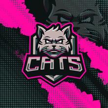 Cats Mascot Logo Design Illustration