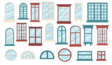 Set Of Various Wooden Windows Collection Windows With Different Shapes Rectangle And Oval Vector Illustration On White Background