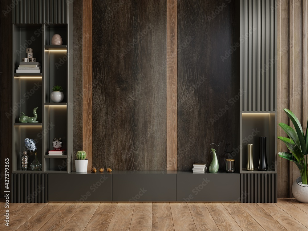 Fototapeta Cabinet TV in modern living room with decoration on wooden wall background.