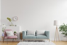 Living Room Interior Wall Mockup Have Sofa,armchair And Decoration.