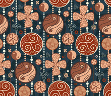 Seamless Pattern With Wooden Garland Of Amulets And Curls On Dark Blue Background. Vector Texture With Yin Yang, Triskel And Horseshoe. Wallpaper With Talismans For Good Luck