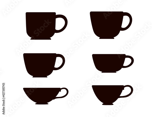 Obraz na plátně Black silhouette set tea or coffee cup vector illustration on white background