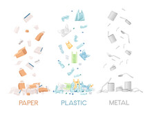 Three Types Of Garbage Paper Plastic And Metal Waste Vector Illustration On White Background