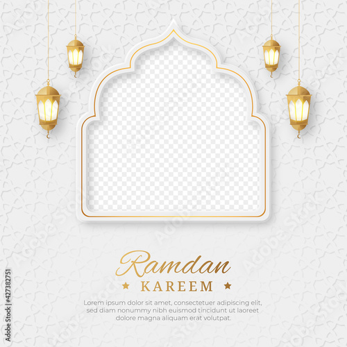 Obraz Ramadan Kareem Islamic social media post with empty space for photo, Ramadan Kareem Islamic Ornament Lantern Background - fototapety do salonu