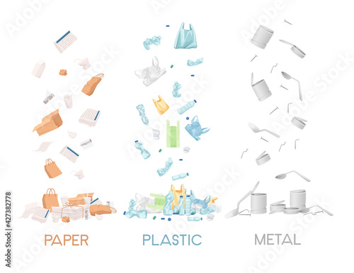 Fotografie, Obraz Three types of garbage paper plastic and metal waste vector illustration on whit