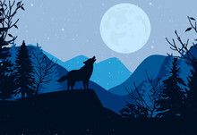 The Wolf Howls At The Moon. Night Landscape. Forest. The Mountains. Vector Graphics. EPS Format