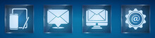 Set Phone And Graphic Tablet, Envelope, Monitor And Envelope And Mail And E-mail. Square Glass Panels. Vector