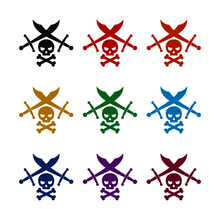 Human Skull And Crossed Swords Icon Isolated On White Background