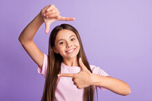 Photo Of Young Cheerful Girl Happy Positive Smile Make Fingers Border Frame Photographer Cadre Isolated Over Purple Color Background