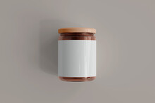 Amber Glass Food Jar With Blank Label 3D Rendering