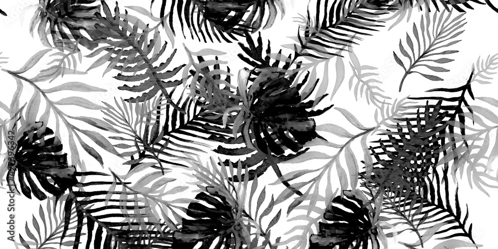 Fototapeta Tropical Banana Trees. Black Leafs Patterns. Silver Tropical Background Plants. Monstera Leaves Art. Tea Pattern Watercolor. Metal Palm Pattern Tropical. Background Palms.