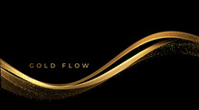 Abstract Gold Waves. Shiny Golden Moving Lines Design Element With Glitter Effect On Dark Background For Greeting Card And Disqount Voucher.