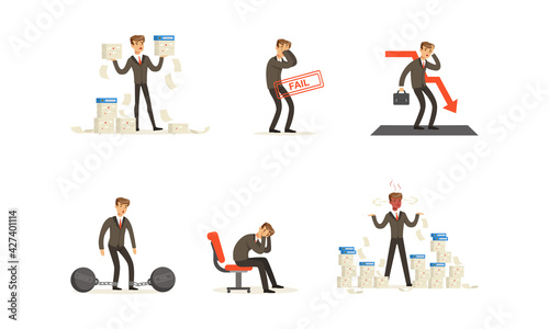 Canvas Print Stressed Businessman Having Financial Problems Set, Business Problems, Unpaid Lo